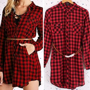 Plaid Shirt Dress Roll Up Sleeve with Belt Red/Blk